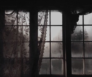 window, dark, and rain image