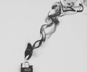 lighter, smoke, and black image