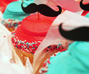 cupcakes, food, and moustache image