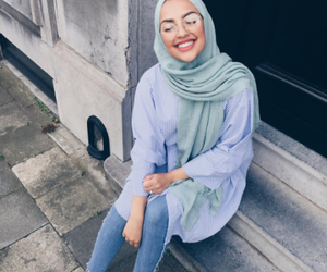 girl, hijab, and blue image