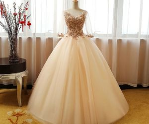 beautiful, champagne, and dresses image