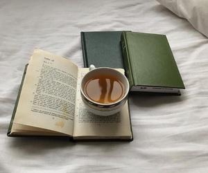 books, tea, and green image