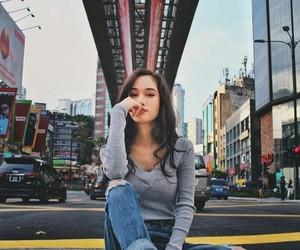 asian girl, new-york, and pijama image