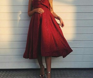 dress, pregnant, and red image