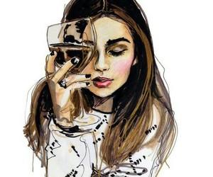 girl, art, and wine image