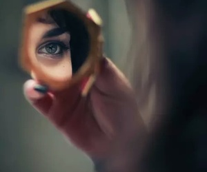 mirror, girl, and eye image
