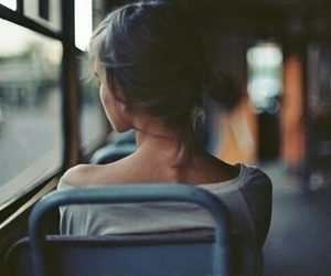 girl, bus, and alone image