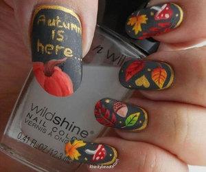 autumn nail art, autumn nails ideas, and autumn leaf nail art image