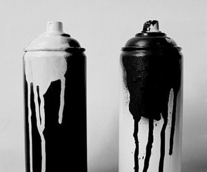 black, black and white, and paint image