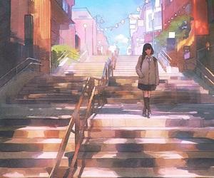 anime girl, art, and scenery image