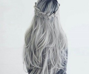 hair, grey, and braid image