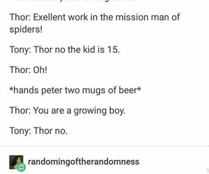 thor, funny, and spiderman image