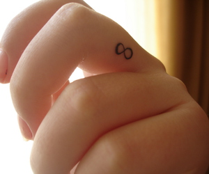 hand, tatto, and infinity image