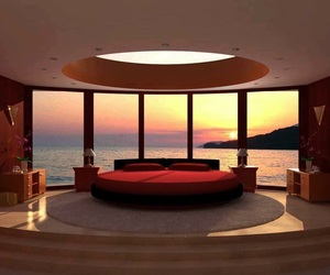 bedroom, bed, and sunset image