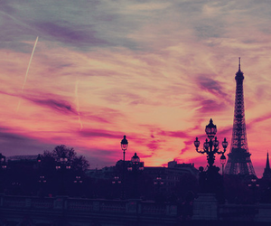 paris, pink, and sky image