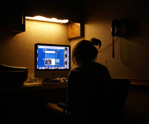 girl, tumblr, and computer image