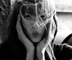 girl, black and white, and kiss image