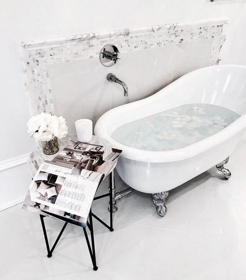 bath, interior, and flowers image