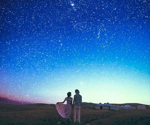 stars, sky, and couple image