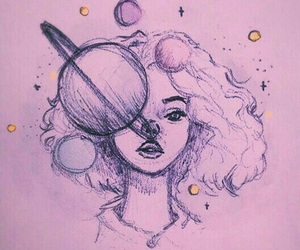 art, girl, and planet image