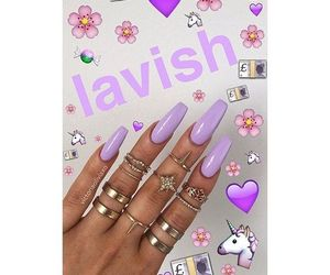 lilac, nails, and purple image