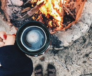 bonfire, camping, and coffee image