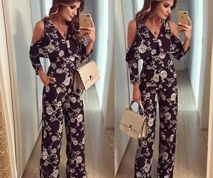 floral, jumpsuit, and romper image