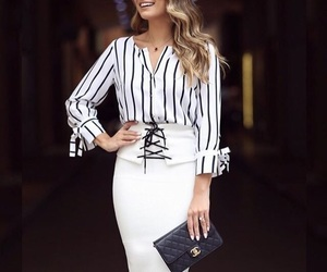 business casual, clutch bag, and dress image