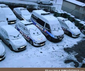 car, funny, and snow image