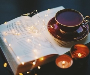 book, light, and tea image