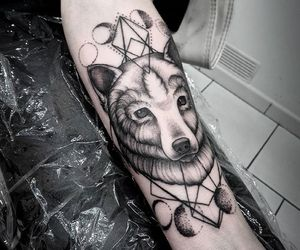 moon, Tattoos, and wolf image