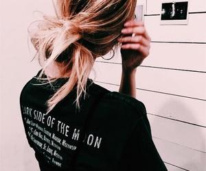 black, hair, and shirt image