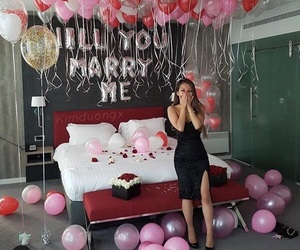 balloons, proposal, and love image