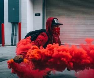 red, smoke, and street image