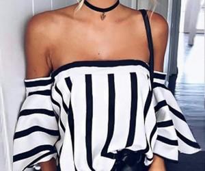 black and white, choker, and fashion fashionable image