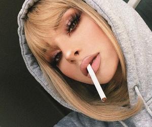 girl, makeup, and cigarette image