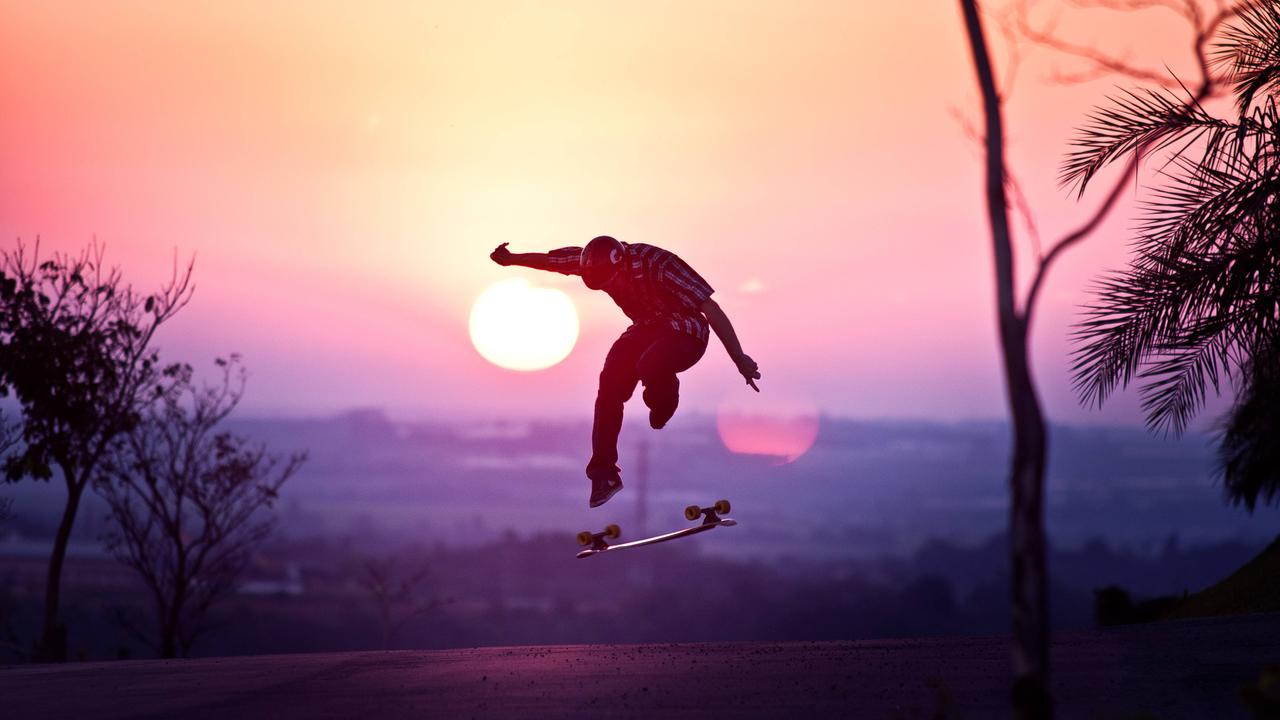 skate, sunset, and boy image