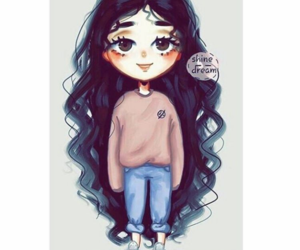 girl, art, and curly hair image