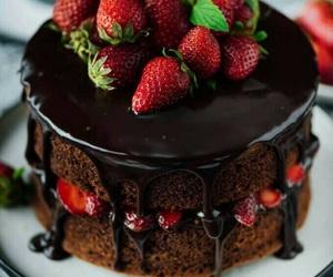 strawberry, chocolate, and cake image