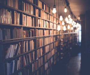 book, library, and light image