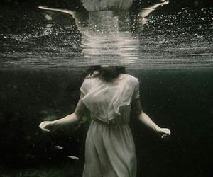 water, black and white, and dark image