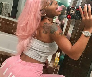 hair, pink, and mirror image