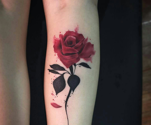 inked, rose, and paint image
