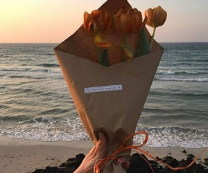 flowers, sea, and aesthetic image