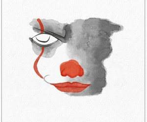 clown, movie, and watercolor image
