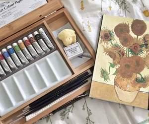 art, sunflowers, and van gogh image