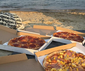 beach, food, and pizza image