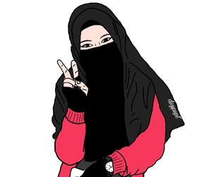 girls, hijab, and niqab image