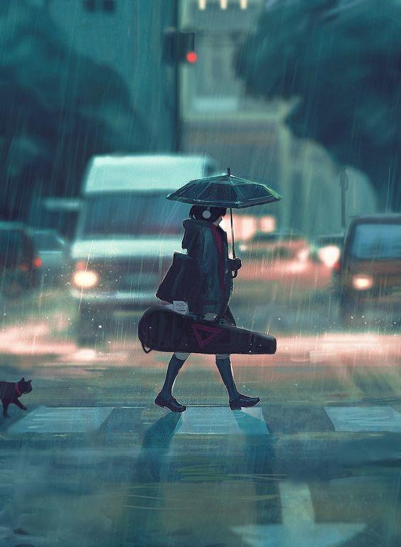 rain, art, and anime image