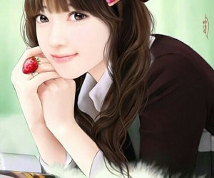 beautiful, girl, and illustration image